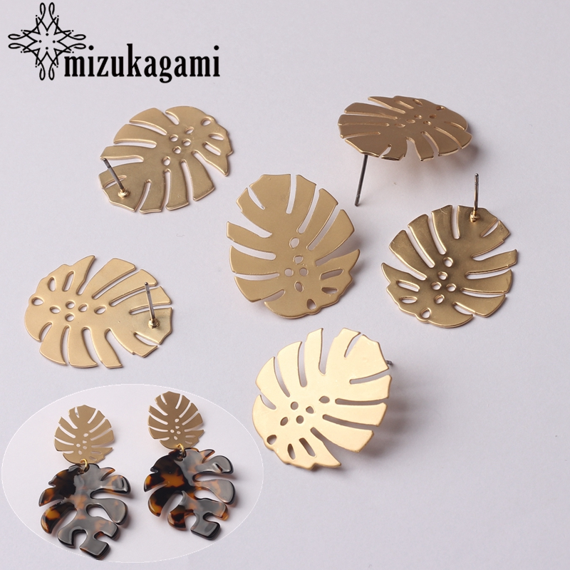 Earrings Jewelry Making Accessories Zinc Alloy Golden Metal Leaves Earrings Base Connectors Linkers 24*28mm 6pcs/lot