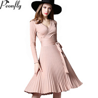 PEONFLY High Quality Elegant Winter Dress Office Dresses For Women Decorative Sashes V Neck Solid Plus