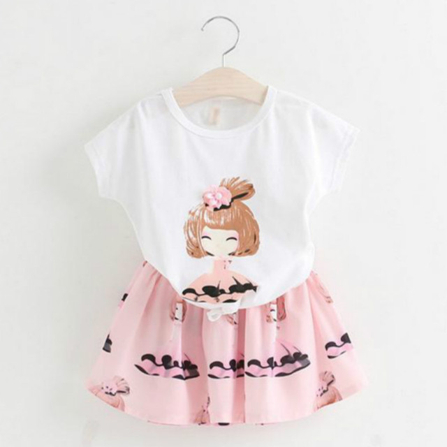 2017 summer new girls skirt suit cartoon printed t-shirt + skirt children clothing girls set casual cotton kids clothes for girl
