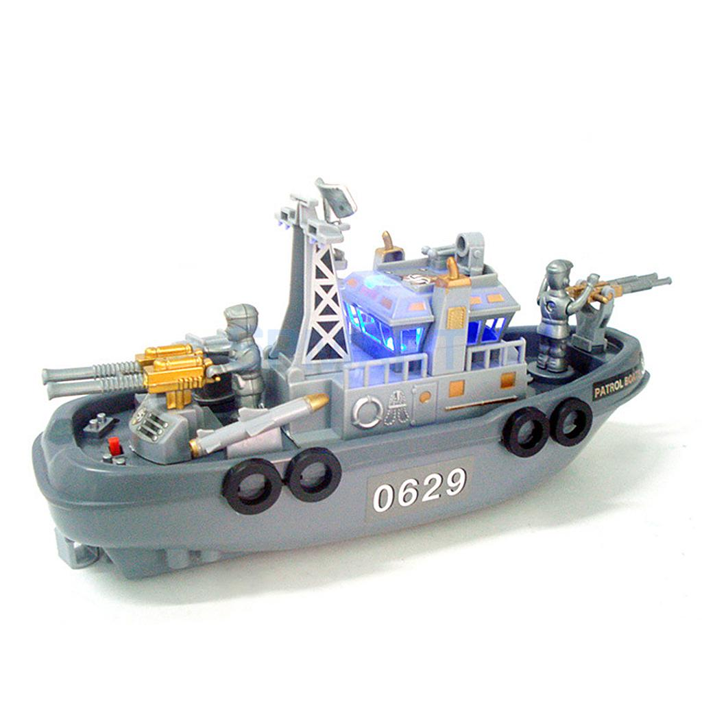 Electric Plastic Mini Marine Patrol Boat Children Toy Military Ship ...