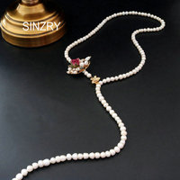 SINZRY handmade jewelry original natural freshwater pearl vintage long necklaces creative lady flower sweater necklaces