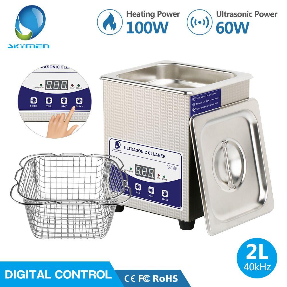 SKYMEN numérique 2L nettoyeur à ultrasons avec dégazage chauffage minuterie bain 60 W Machine à ultrasons montres dentaires lunettes pièces outil partie
