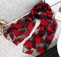 [Oda A la Alegría] 2017 Nueva Marca Mujeres Bufanda de Seda de Lujo velo Bordado Bufanda Larga de Encaje hoja Bufandas Mantón de La Manera Foulard Femme