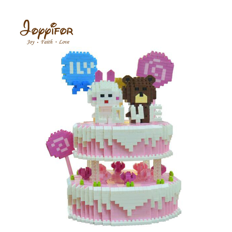 Joyyifor 1800 pièces Mini Blocs Belle Ours Lapin Bonbon Rose Gâteau D'anniversaire Briques De Construction Modèle Jouets pour Filles Amis Meilleurs Cadeaux