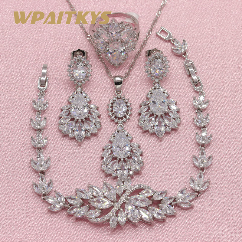 Red Dxhycc Silver Red Alloy Rhinestone Earrings Crystal Pendant Necklace Bridal Jewelry Set