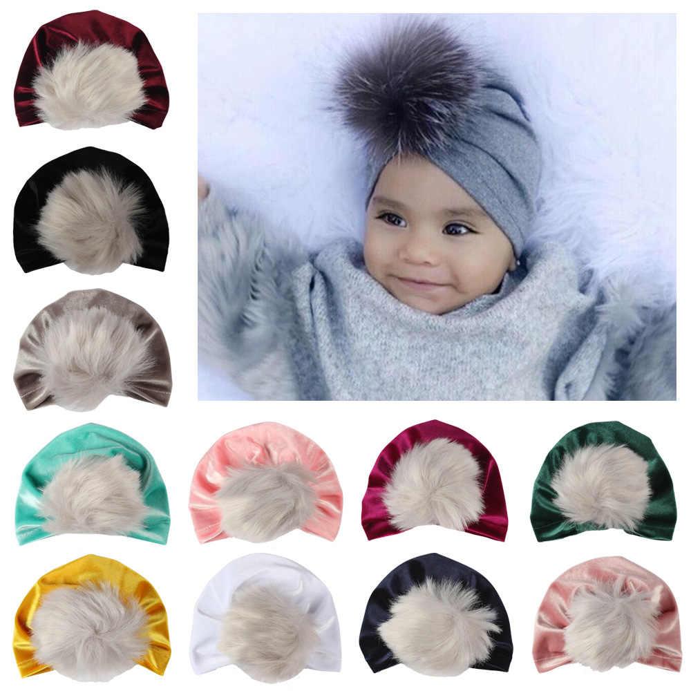 2019 Baby Turban Hats Autumn Winter Children Velvet Caps Indian Hat Kid  Beanie Pompom Bohemia Hat a55bf21ad7e9