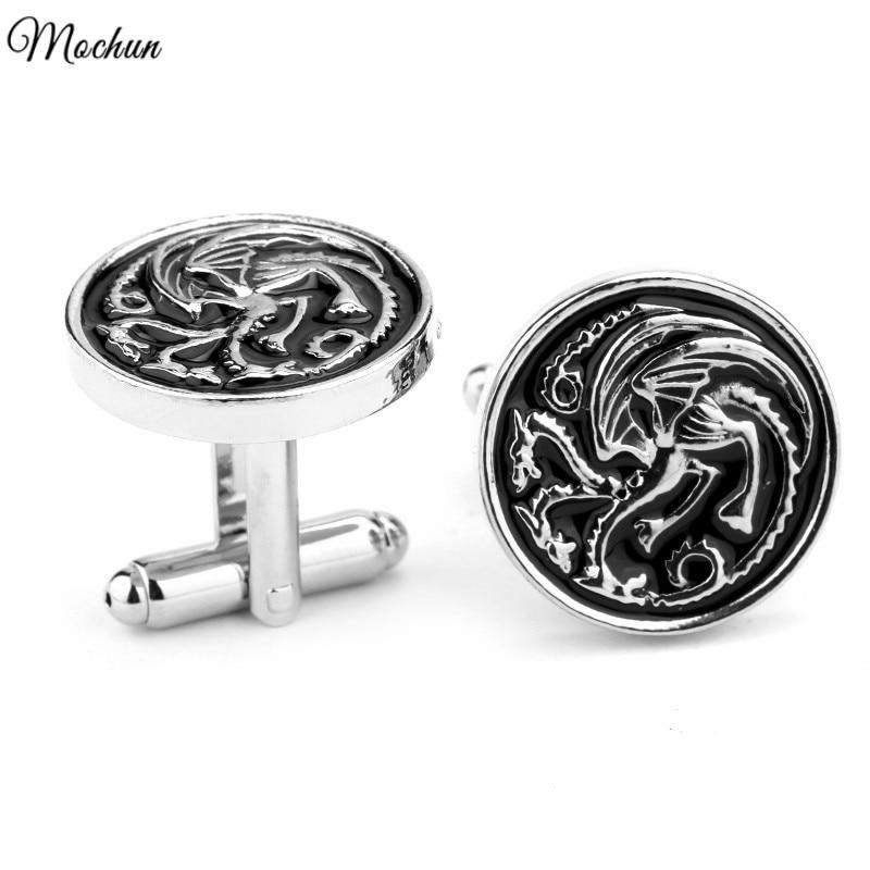 MQCHUN Dragon Cufflinks Buttons Thrones Shirt Jewelry-Game Gemelos Vintage Mens Brand