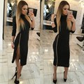 Split Bodycon Bandage Dresses 2016 Winter Autumn Women Sexy Long Sleeve Zipper Turtleneck Dress Party Night Club Dress Vestidos