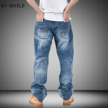 autumn fashion loose Classic Straight Leg Jeans plus size baggy jeans hip hop street dancers parkour light blue pants men 30-46