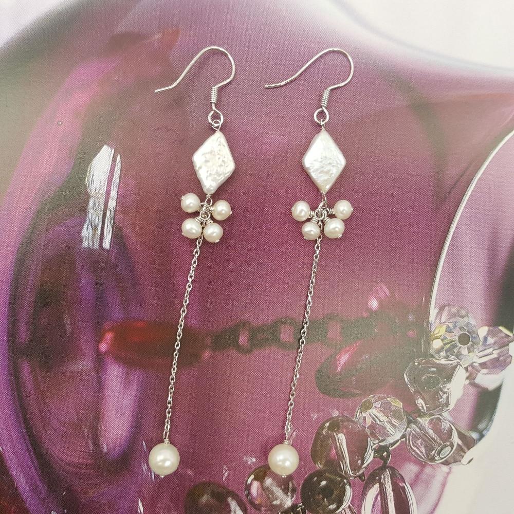 Lii Ji Freshwater Pearl Diamond Round Shape Beads 925 Sterling Silver Link Drop Long Earrings long chain enamel bird shape drop earrings
