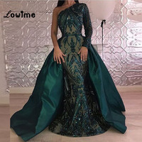 One Shoulder Arabic Green Evening Dress Special Shiny Fabric Long Sleeve With With Detachable Train 2018 Custom Made Party Gowns