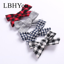 4pcs/lot Plaid Knot Bows Hair Clips,School Girls Bow Fabric Cotton Hairpins,Child Kids Hair Barrettes Hair Accessories 4pcs plaid