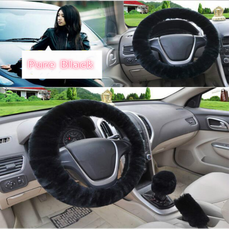 Image 4 - Universal Steering wheel Plush Car Steering Wheel Covers Winter Faux fur Hand Brake & Gear Cover Set Car Interior Accessories-in Steering Covers from Automobiles & Motorcycles