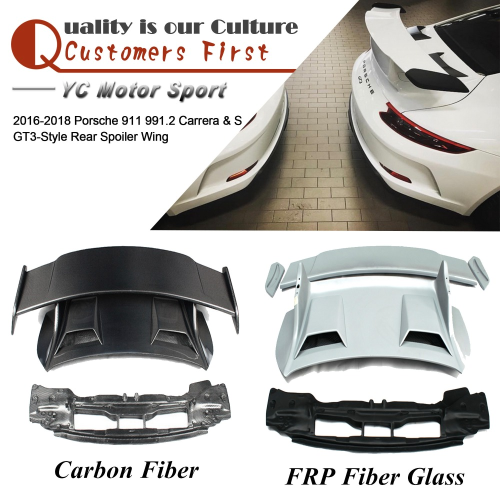 FRP Fiber Glass / Carbon Fiber GT3 Style Rear Spoiler Wing Fit For 2016 2018 911 991.2 Carrera & S & 4 & 4S Trunk GT Wing