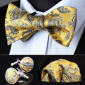 Карманный площадь классический ну вечеринку свадебные BZP14Y желтый синий пейсли мужчины самостоятельная галстук-бабочку платок запонки комплект