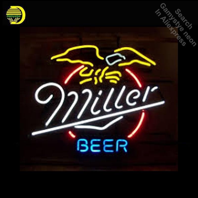 Miller Beer Neon Bulbs Sign Handmade Light bar Room Recreation Glass Tube Handcraft Affiche lamps neon bar signs for beer Bar