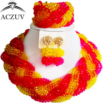 ACZUV African Beads Jewelry Sets for Women Hot Pink and Yellow Crystal Nigerian Necklace and Earrings A12R019