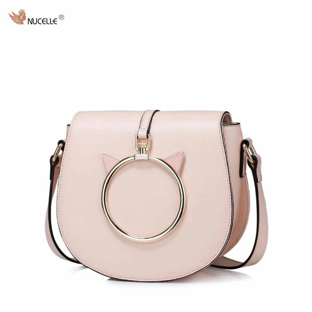 2017 Spring New NUCELLE Brand Design Fashion Ring Cat Ears PU Leather Women Ladies Girls Shoulder Bag Crossbody Saddle Bags