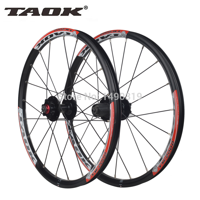 TAOK original 20'' Inch 20 Holes 406 Rim Folding Bicycles Mountain Disc Brake wheel Wheelset Free shipping mountain bike four perlin disc hubs 32 holes high quality lightweight flexible rotation bicycle hubs bzh002