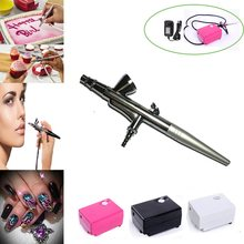 AirBrush kit met Compressor Air brush Pistool 0.4mm Naald Set nail Art Make-Up Body Painting gereedschap Auto Taart Speelgoed puntjes tool(China)