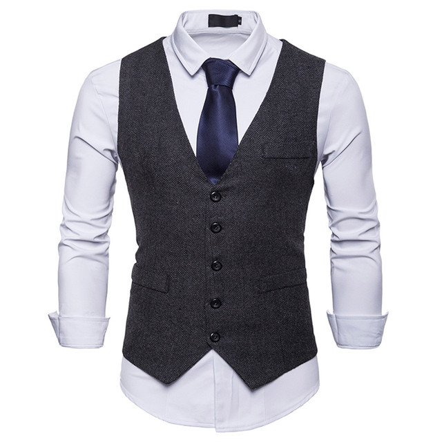 Waistcoat Dress Vests For Men Casual Slim Fit Mens Suit Vest autumn Gilet Homme Formal Business Jacket sleevelss d90628 1