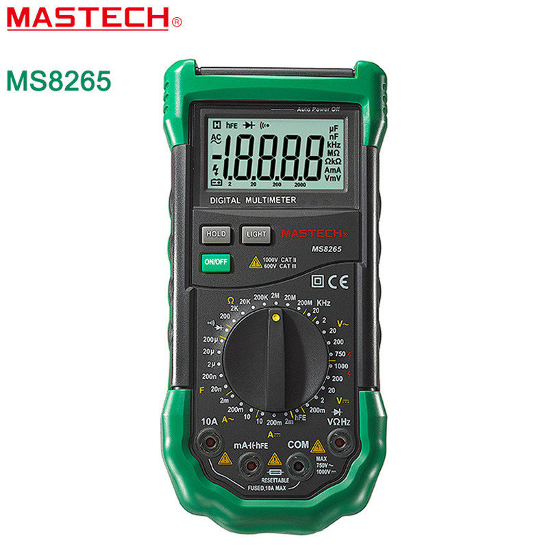 ФОТО Digital Multimeter MASTECH MS8265 AC DC Volt Ampere Ohm Capacitance Frequency Tester Meter Transistor Continuity Diode Tester