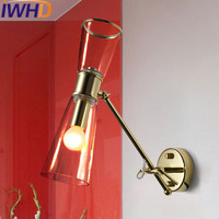 IWHD Glass Sconce Wall Light Up Down Angle Adjustable Wall Lamp Simple Bedroom Beside Home Lighting Fixtures Stairs Arandela