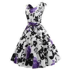 50S Vintage Hepburn Style Rose Print Flare Dress 5