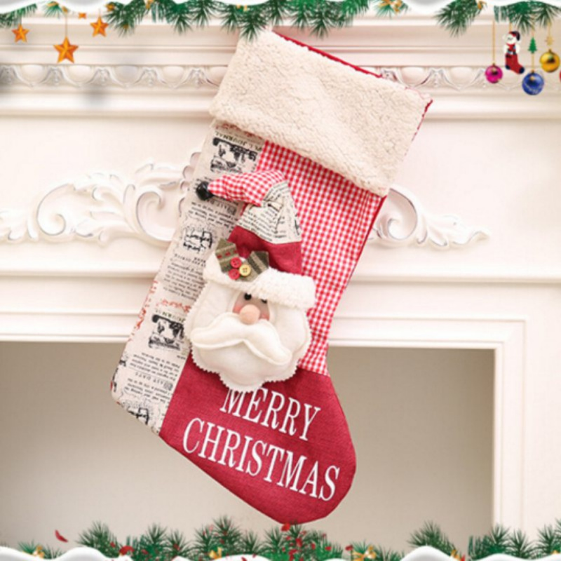2017 Christmas Stocking Decoration Clothes Santa Socks Christmas Gift For New Year Candy Gift Bags For Kids