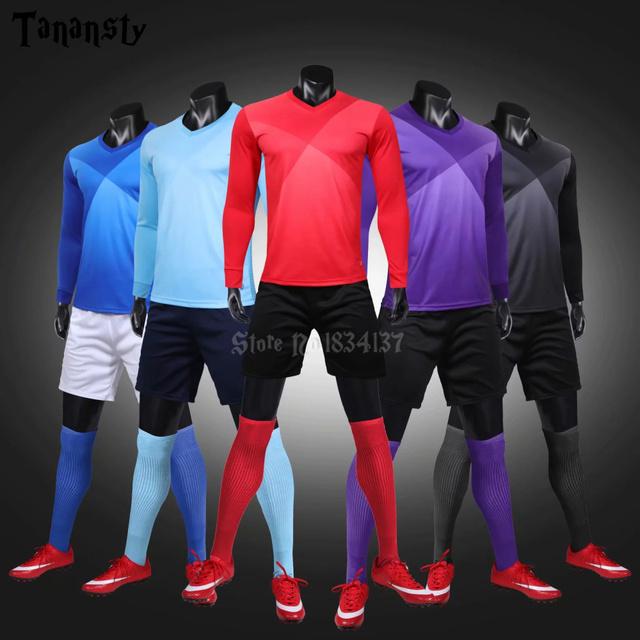 Survetement football sets college soccer jerseys men custom football uniforms adult long sleeve maillot de foot 2019 2020