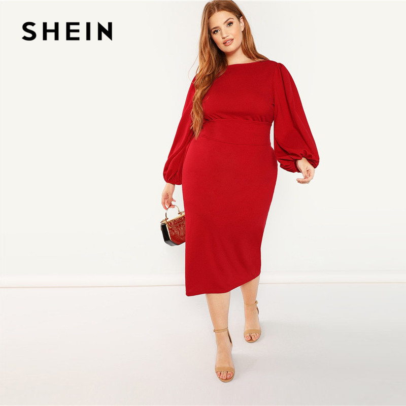 SHEIN Red Plus Size Lantern Long Sleeve High Waist Elegant Bodycon Pencil  Dresses Women Slim Fit Belted Party Dress