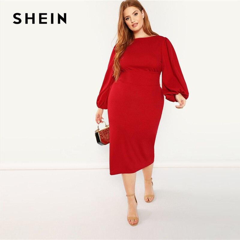 SHEIN Red Plus Size Lantern Long Sleeve High Waist Elegant Bodycon Pencil Dresses Women Slim Fit Belted Party Dress