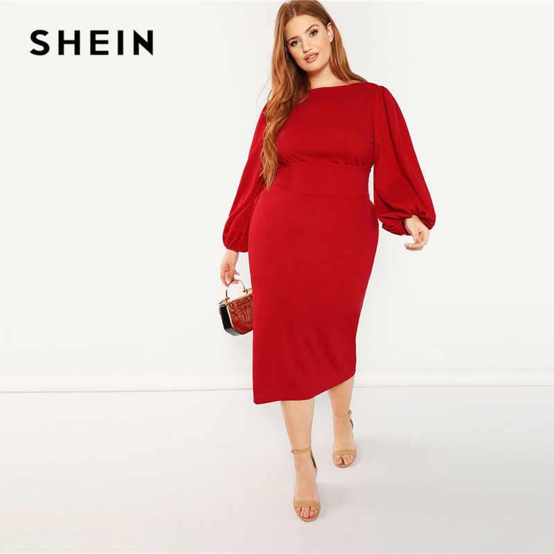 bef7f6d453 SHEIN Red Plus Size Lantern Long Sleeve High Waist Elegant Bodycon Pencil  Dresses Women Slim Fit