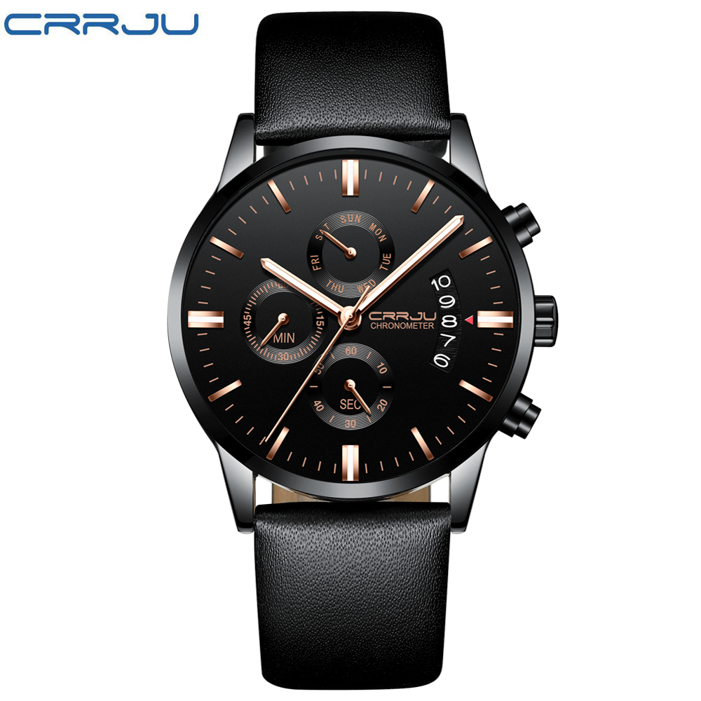 2018 NEW Fashion Casual CRRJU Brand Waterproof Quartz Watch Men Military Leather Sports Watches Man Clock Relogio Masculino