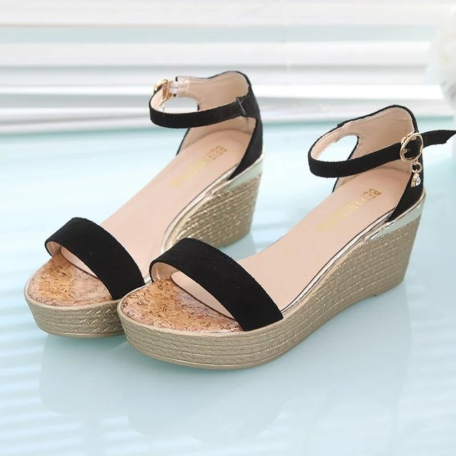 1c0a7dd03d Summer Women Casual Sandals Lady Cute Black Buckle Strap Wedges Sandal Shoes  Female Cool Platform Sandals