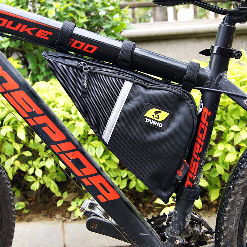 New Waterproof Outdoor Triangle Cycling Bicycle Front Tube Frame <font><b>Bag</b></font> Mountain <font><b>Bike</b></font> Pouch Black Grey image