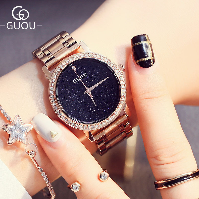 Original GUOU Brand Bling Stars Full Stainless Steel Rose Gold Japan Movt Quartz Wrist Watches Wristwatch for Women Ladies OP001 цена и фото