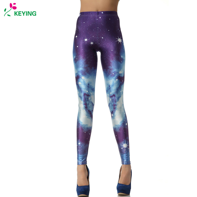 KEYING Cosmic Space Printed Leggings Sexy Fitness 2018 Women Fashion Gothic Creative Shape Elastic   Pants     Capri   Workout Leggings