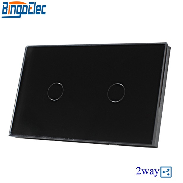 Hot sale AC110-240V Bingoelc Black Glass Panel 2gang 2way Touch Remote Switch, 433mhz,110-240V,Wall light switch.Good Quality 2017 free shipping smart wall switch crystal glass panel switch us 2 gang remote control touch switch wall light switch for led