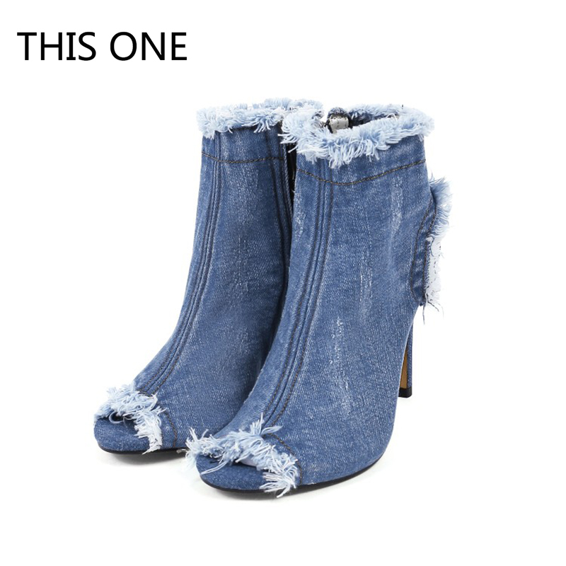 New high quality denim summer ankle boots 10cm high heels sexy lace up women boots thin Heels Zip Solid Color Lady's Boots slimming zip design solid color lace up men s sport jogger pants