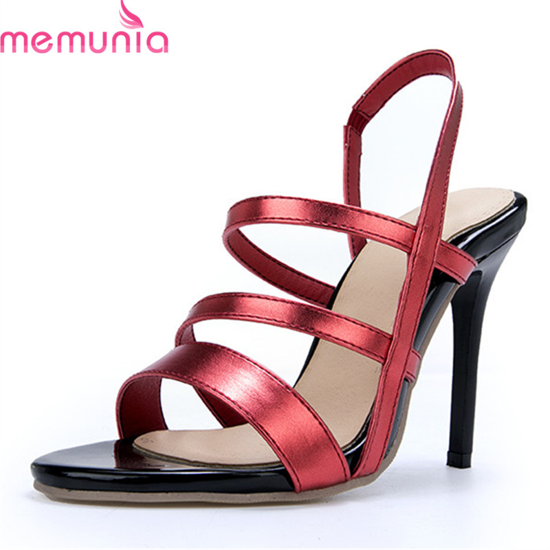 MEMUNIA 2019 large size 46 women sandals pu simple sexy stiletto high heels sandals slip on elegant party wedding shoes ladies