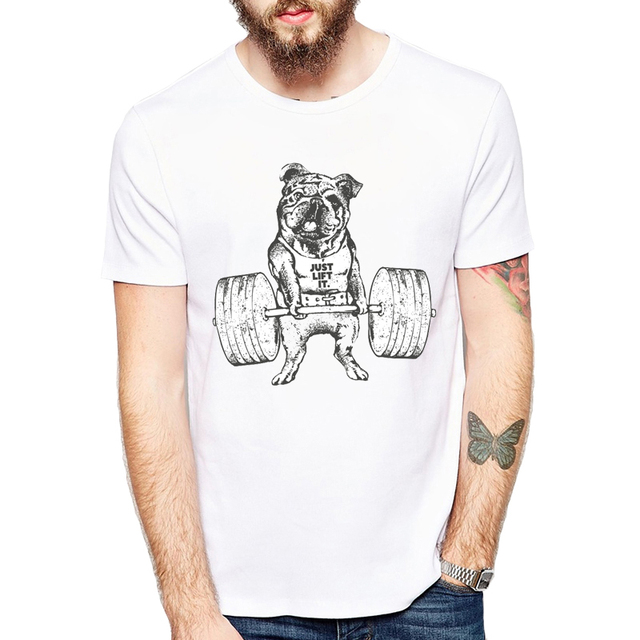 b5896205 Hot Sale Fashion Pug Squat Exercise Hard Design Hipster Pug Printed T-shirt  Short Sleeve Male Funny Tops Hipster Casual Tee