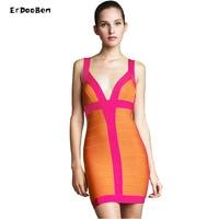 Donne dress celebrità summer dress nude profondo scollo a v spaghetti elegant lady partito bodycon dress nightclub bandage dress dr829
