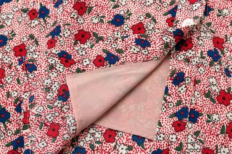 ผู้หญิง Vintage ปุ่มผ่านดอกไม้พิมพ์กลางชุด