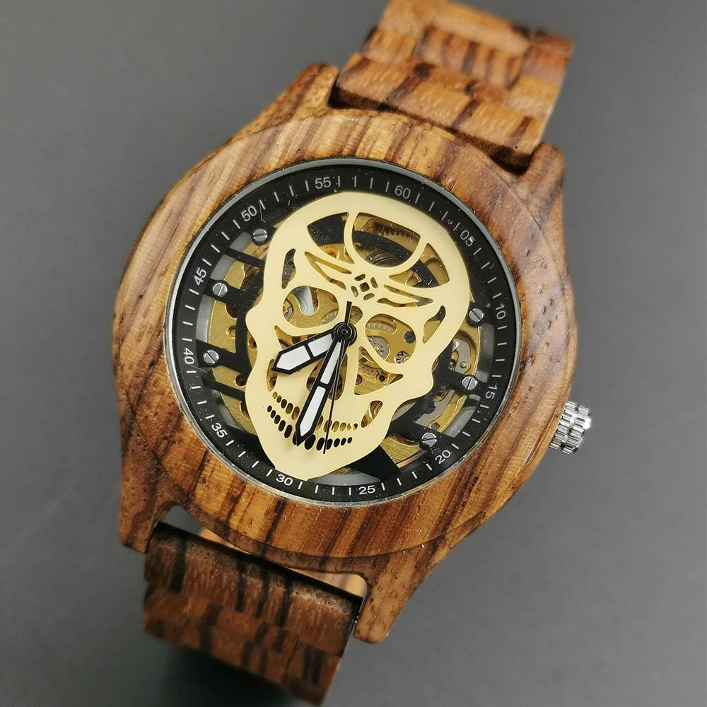 Luxury Brand Cool Skull Mens Mechanical Watches Wooden Strap Wrist Watch relogio masculino Wooden WatchLuxury Brand Cool Skull Mens Mechanical Watches Wooden Strap Wrist Watch relogio masculino Wooden Watch