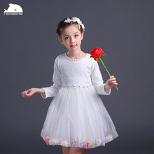 girl party dress princess dress girl 3-12 years 2019 autumn pink white  baby wedding dresses lace fashion vestidos long sleeve недорго, оригинальная цена