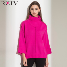 RZIV autumn oversize sweater 2017 fashion women long sweater and knitted sweater women solid color