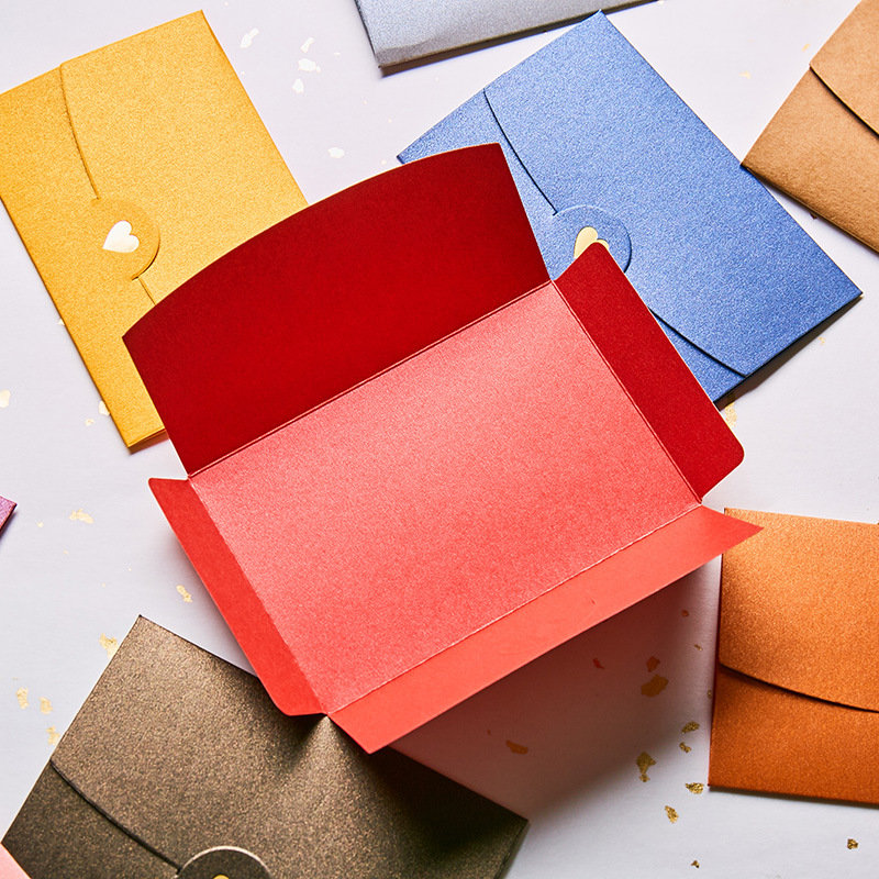 Coloffice 10PCs/Set Pure Color Greeting Card Envelopes Gilded Heart Western-style Colored Small Envelopes School Office Supplies