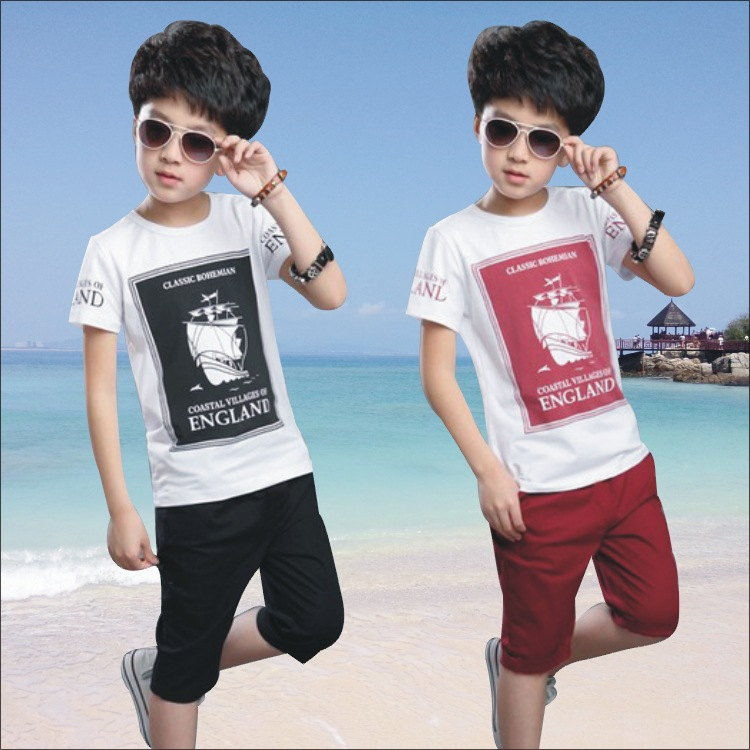 Hot The Childs Summer Boys Suit New Kids Clothes Sports Sets Sailing Short Sleeved T-shirt+pants 4-14 Ages Free Shipping
