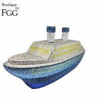 Бутик De FGG для женщин модные 3D корабль пароход Кристалл клатч вечерняя сумочка; BS010 металла клатчи Minaudiere свадебная сумочка кошелек